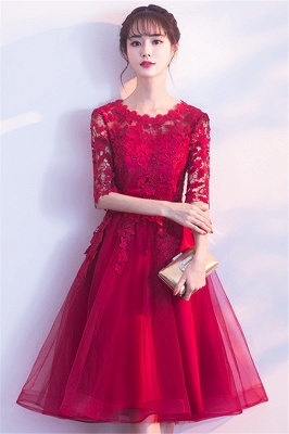 MARGARET | A-line Half sleeves Short Burgundy Appliques Tulle Homecoming Dresses_4