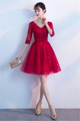 MARGE   A-line V-образным вырезом Half Sleeves Tulle Appliques Homecoming Dresses_5