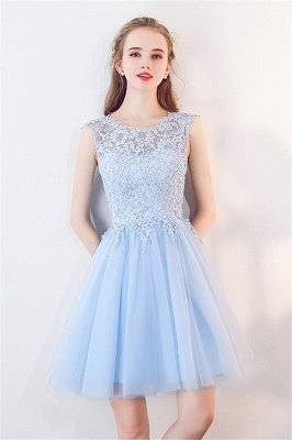 MARCIA | A-line Sleeveless Short Appliqued Top Tulle Homecoming Dresses