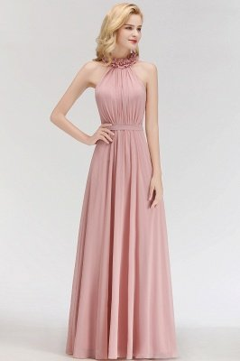 MARGUERITE | A-line Floor Length Halter Sleeveless Ruffled Chiffon Bridesmaid Dresses_6