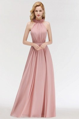 MARGUERITE | A-line Floor Length Halter Sleeveless Ruffled Chiffon Bridesmaid Dresses_1