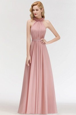 MARGUERITE | A-line Floor Length Halter Sleeveless Ruffled Chiffon Bridesmaid Dresses_4