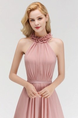 MARGUERITE | A-line Floor Length Halter Sleeveless Ruffled Chiffon Bridesmaid Dresses_8