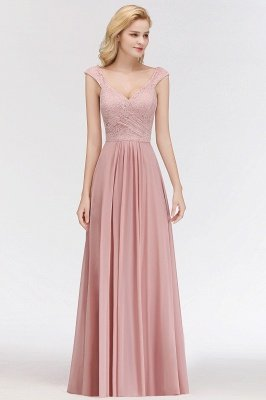 MARIA | A-line Long V-neck Sleeveless Lace Top Chiffon Bridesmaid Dresses_4