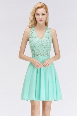 Cheap V-Neck Short Lace A-Line Sleeveless Bridesmaid Dress