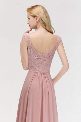 MARIA | A-line Long V-neck Sleeveless Lace Top Chiffon Bridesmaid Dresses_3
