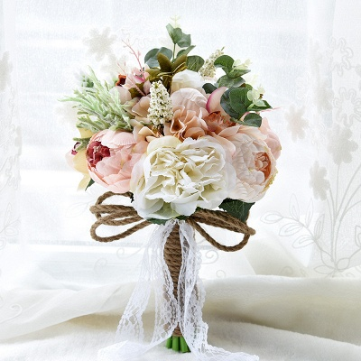 Real Touch Colorful  Artifial Roses Wedding Bouquet