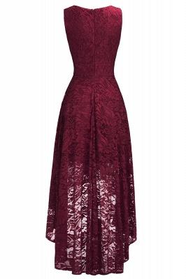 A-line Hi-lo V-neck Sleeveless Burgundy Lace Dresses_4