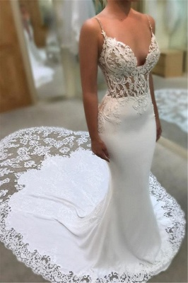 3623abaca26 Mermaid Spaghetti Sleeveless Appliqued Lace Court Train Wedding Dresses