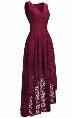 A-line Hi-lo V-neck Sleeveless Burgundy Lace Dresses_2