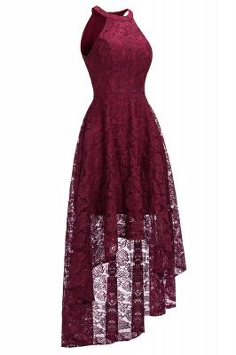 Halter Sleeveless Sheath Asymmetrical Burgundy Lace Dresses_5
