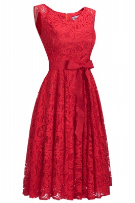 Simple Sleeveless A-line Red Lace Dresses with Ribbon Bow_12