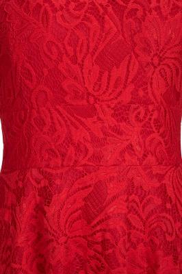 A-line Hi-lo V-neck Sleeveless Burgundy Lace Dresses_11
