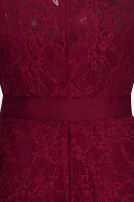 A-ligne sans manches robes de dentelle de Bourgogne avec noeud_11