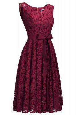 Vestidos sencillos de encaje rojo sin mangas con lazo de cinta_5