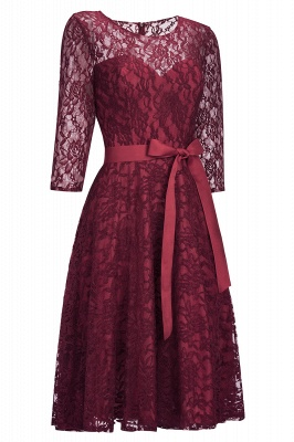 0d1b8a9653c Vintage A-line Burgundy Lace Dresses with Sleeves