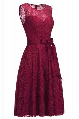 A-line без рукавов Бургунские кружевные платья с луком_3