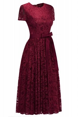 Short Sleeves Seath Red Lace Dresses with Ribbon Bow_6