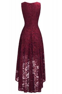 Vestidos de encaje de color borgoña sin mangas con cuello en V de una línea_7