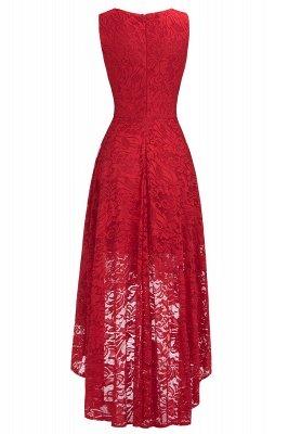 Vestidos de encaje de color borgoña sin mangas con cuello en V de una línea_13