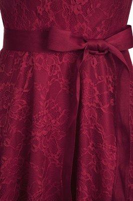 A-line без рукавов Бургунские кружевные платья с луком_13