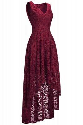 Vestidos de encaje de color borgoña sin mangas con cuello en V de una línea_3