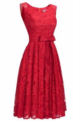 Vestidos sencillos de encaje rojo sin mangas con lazo de cinta_10