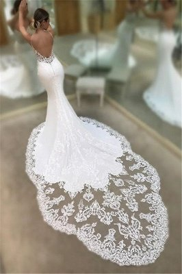 Mermaid Spaghetti Sleeveless Appliqued Lace Court Train Wedding Dresses_3