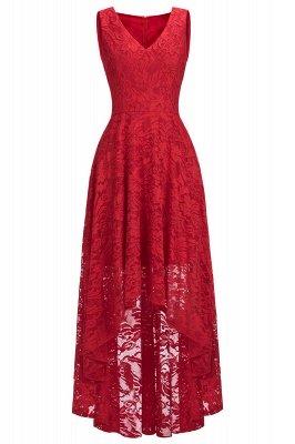 Vestidos de encaje de color borgoña sin mangas con cuello en V de una línea_10