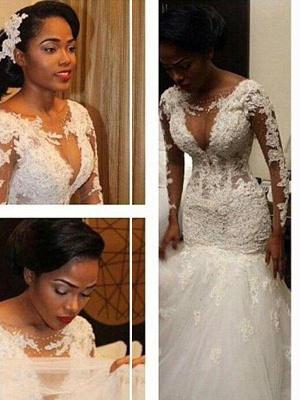 Lace Tulle Floor-Length Mermaid V-neck Long Sleeves Wedding Dresses_3