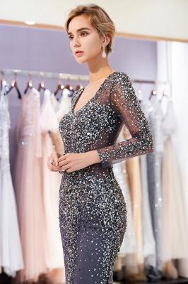 MAUREEN | Mermaid V-neck Long Sleeves Sparkly Beading Evening Dresses_7