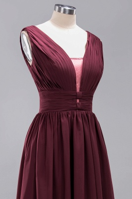 Weinrote Brautjungfernkleider Aus Chiffon | Elegantes Brautjungfer Kleid Bodenlang_13