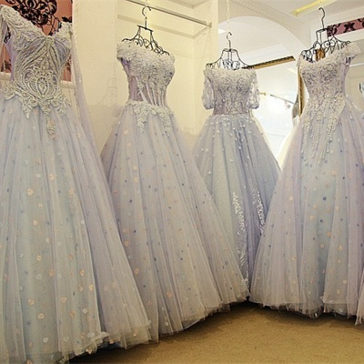 3/4 Sleeves Applique A-Line Ball Gown Off-The-Shoulder Bow Prom Dresses_6