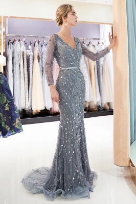 MAVIS | Mermaid Long Sleeves V-neck Sequins Evening Gowns with Sash_5