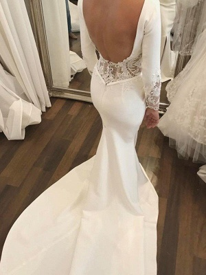 Lace Satin Long Sleeves Mermaid Scoop Court Train Wedding Dresses_4