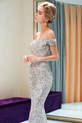 MAUDE | Mermaid Off-the-shoulder Long Sequins Silver Evening Gowns_12