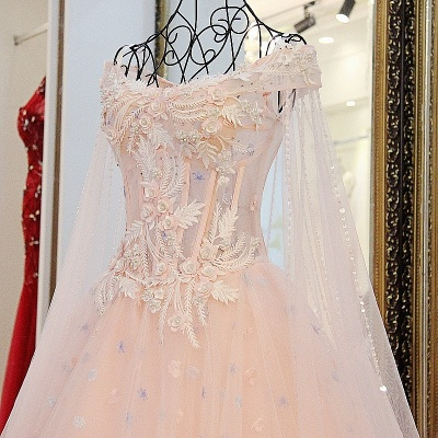 Off-the-Shoulder Sleeveless Appliques Quinceanera Dresses_4