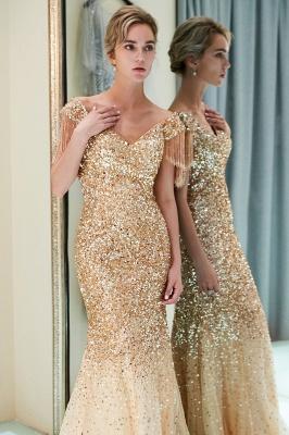 MELISSA | Mermaid Off-the-shoulder V-neck Floor Length Sequins Evening Dresses_16