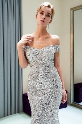 MAUDE | Mermaid Off-the-shoulder Long Sequins Silver Evening Gowns_13