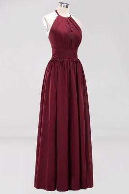 A-line Chiffon Appliques Halter Sleeveless Floor-Length Bridesmaid Dresses with Ruffles_9