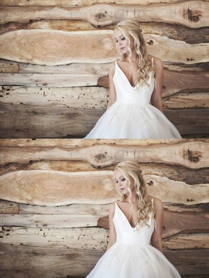 Spaghetti Straps Lace Organza A-Line V-neck Sleeveless Court Train Wedding Dresses_3