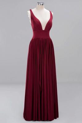 A-Line Jersey V-Neck Sleeveless Long Bridesmaid with Ruffles_7