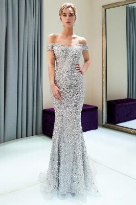 MAUDE | Mermaid Off-the-shoulder Long Sequins Silver Evening Gowns_11