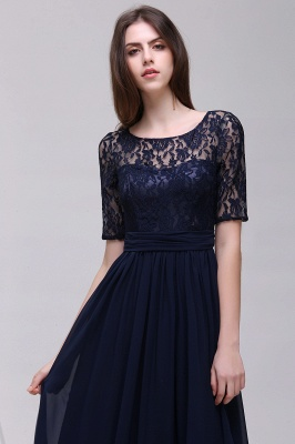 Custom Made A-line Chiffon Lace Scoop Half-Sleeve Floor-Length Bridesmaid Dress with Round back_3