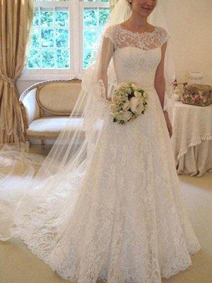 Свадебные платья с кружевным кружевом с короткими рукавами_1