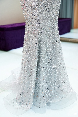 MAUDE | Mermaid Off-the-shoulder Long Sequins Silver Evening Gowns_15