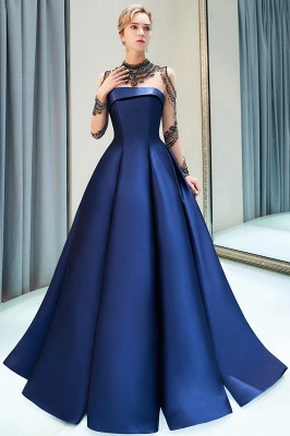 MARIN | A-line Long Sleeves Beading Neckline Satin Evening Gowns_8