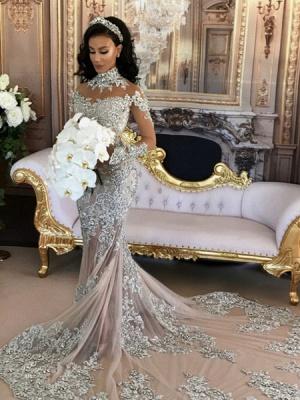 Long Sleeve Silver High Neck Popular Evening Dress Lace Mermaid Luxury Wedding Dresses BH-362_2