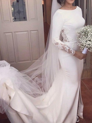 Lace Satin Long Sleeves Mermaid Scoop Court Train Wedding Dresses_1