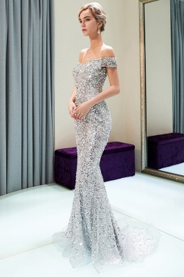 MAUDE | Mermaid Off-the-shoulder Long Sequins Silver Evening Gowns_8